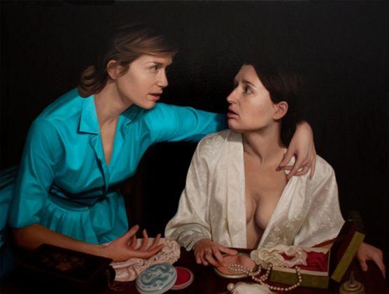Laura Krifka, Lions, olio su tela, 2019