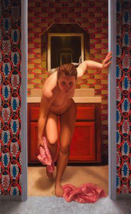 Laura Krifka, Violet Riot, olio su tavola, 2014